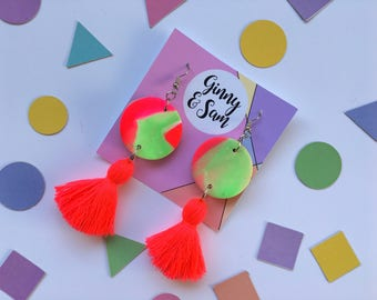 Green and Pink Earrings || Polymer Clay Earrings