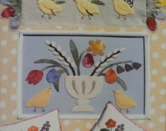 Easter Chicks #512 - Primitive wool applique pattern - Pillow and Wall Hanging Bonnie Sullivan - Flannel or Wool - All Through the Night