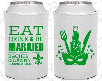 Eat Drink and Be Married, New Orleans Wedding Gift, Nola Wedding Gift, Mardi Gras Wedding Gift,Fleur De Lis Wedding Gift,Can Coolers (420)