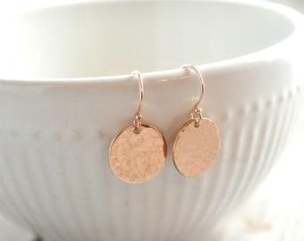 Rose Gold Hammered Disk Earrings