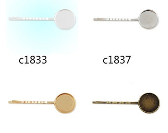 50pcs 55x18MM Bobby Pin With bezel,fit 18mm round cabochons,bobby pin,bobby blanks,hair pin