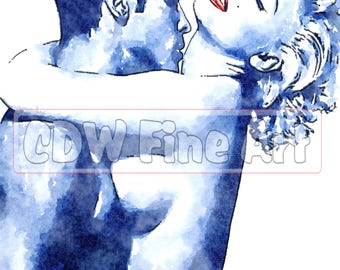 The Kiss - Marilyn Monroe (Lookalike) - Limited Edition Print of my Water Colour Painting