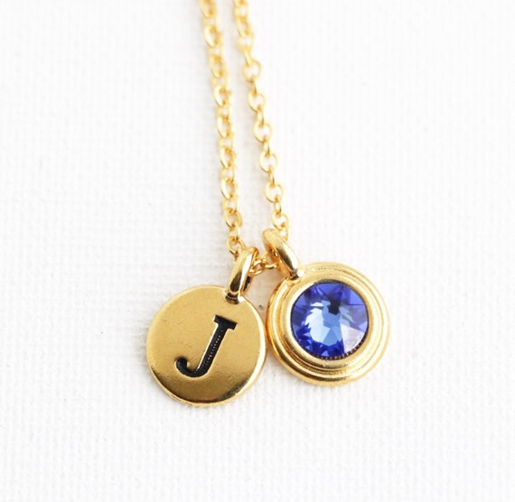 Birthstone personalized birthstone necklace initial necklace aloadofball Images