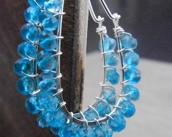 Turquoise Gemstone Hoop Earrings Sterling Silver, Turquoise Wire Wrapped Hoops, Simple Hoops, Blue Silver Hoops