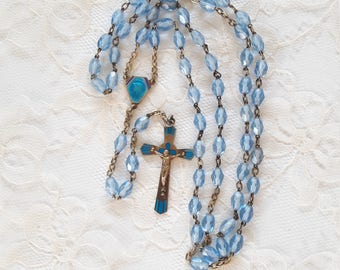 Antique Blue Rosary - Blue Glass Beads - Virgin Mary - Blue Enamel Cross and Centerpiece