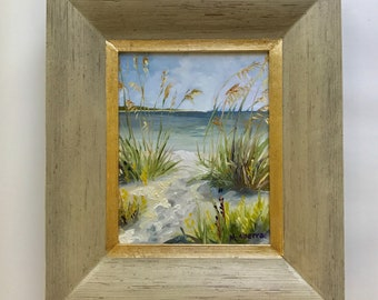 "Sea Grass // 8"" x 10"" // Original Oil Painting // Plein Air// Port St. Joe, Florida // by Mandie Aberra // Golden Fin Studios"