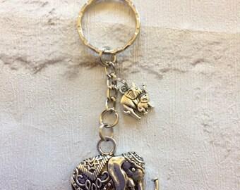 Silver Elephant  Keyring, Stocking Filler, Elephant Lucky Charm, Elephant Keychain, Elephant Bag Charm, Animal Key Fob, Elephant Keyring.
