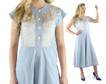1950s Lace Dress Full Skirt Light Blue Cotton Short Sleeves Vintage 1950s Medium M Pinup Rockabilly