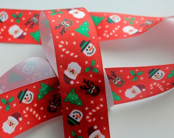 "1 1/2"" Snowman and Holly Grosgrain Ribbon"