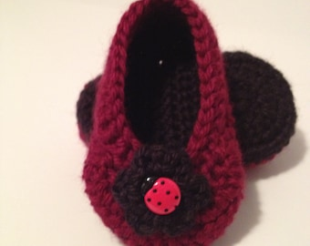 Crochet Baby Booties, Ladybug Booties, 0 to 3 Months
