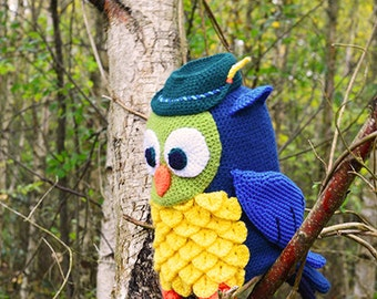 Owl with Hunter's Hat Crochet Pattern, Owl Crochet Pattern, Forest Owl Pattern, Owl Amigurumi Crochet Pattern, Hunter Owl Amigurumi Pattern