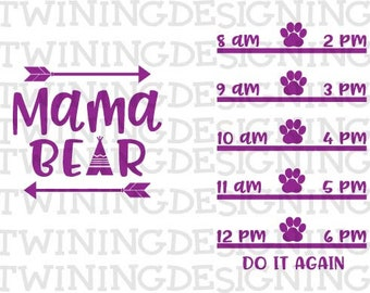 mama bear water tracker| Water tracker SVG PNG DXf file digital file cricut file silhouette file | cute water tracker