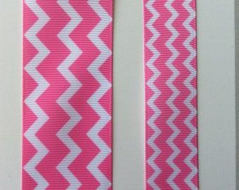 "Striped zig zag grosgrain ribbon 7/8"" 1.5""  Pink White"