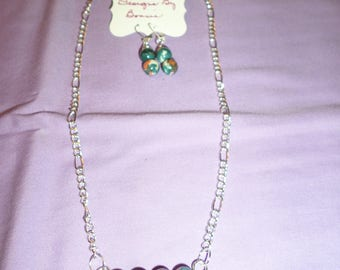 "18"" Silver Chain with Flower Jasper Beads and matching earrings"