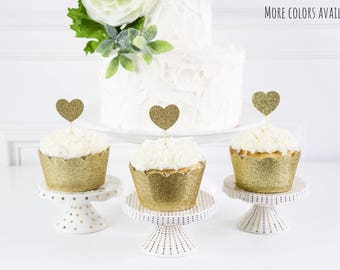Gold Heart Cupcake Toppers, First Birthday Toppers, Baby Shower Decor, Bridal Shower Decor, Wedding Decor, Engagement Decor