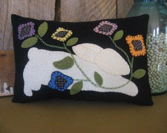 Folk Art Primitive Wool Applique Easter Bunny Pillow  JKB