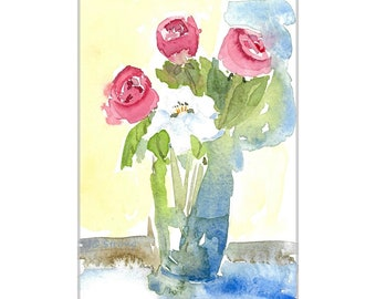 Original Watercolor Painting Impressionistic Still Life Flowers Roses