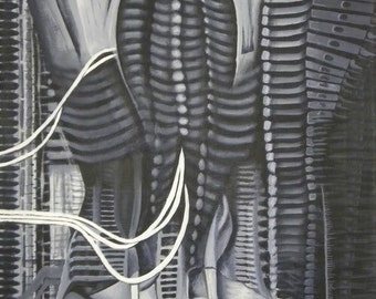 Reproduction HR Giger closeup of NYC VI acrylic on canvas painting 18x24