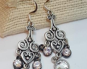 Chandelier Earrings, Earring Jewelry, Dangle Earrings, Earrings, Silvertone Earrings, Pierced Earrings, Jewelry, Pendant Jewelry,