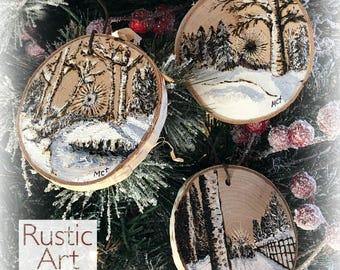 LARGE Artisan Wood-Burned Ornament | Reclaimed Wood Christmas Ornament | Hostess Gift