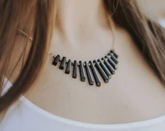 Onyx Collar Necklace | Statement Jewelry