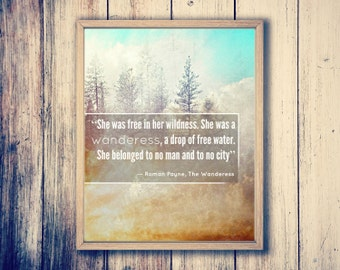 Inspirational Quote ; Wanderess ; Typography Poster Canvas Art Canvas Quotes Typography Print Inspirational Print Roman Payne