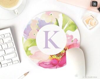 pretty desk accessories | monogram mouse pad | floral mouse pad | mouse pad | mousepad