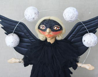 Crow Raven Folk Art Doll with Wings Juggling Full Moons with Glittery Mask -- One of a Kind Collectible Halloween Dark Mystic Soft Sculpture
