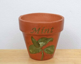 Mint Herb Pot 4 Inch Red Clay Terracotta Hand Painted Indoor/Outdoor Flower Pot Illustrated and Lettered