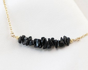 Raw Black Obsidian Bar Necklace, Minimalist Necklace, Layering Necklace, Gemstone Bar Necklaces, Delicate Gemstone Choker, Birthday Gift