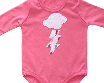 Baby Girl Onesie, Bolt Onesie, Stormy Weather Thunder and Lightening Onesie, Pink Bodysuit, Baby Shower Gift
