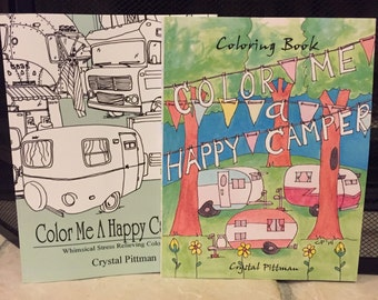 SALE - Coloring Book Two Pack Set: Color Me A Happy Camper I & II - Glamper Travel Trailer RV - Coloring Book for Adults and Kids