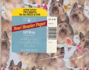 Yorkshire Terrier Gift Wrap Yorkie Wrapping Paper Vintage 2 Sheets Forget Me Not American Greetings