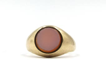 9ct Gold Sardonyx Signet Ring | Vintage Chunky 9k Ring 4.8 grams | UK size N ~ US size 6 1/2 | Hallmarked 1960
