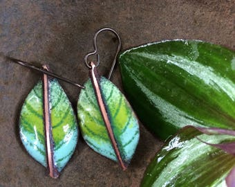 Fold Formed/Enamel Copper Earrings/Sgraffito Design/Organic/Nature Art/Enamel Jewelry/Tropical/Ready To Ship/Dangle Earrings/