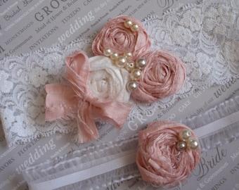 Shabby Chic Bridal Garter Set, Silk Garters, Keepsake n' Toss Garters, Wedding Garter Set, Wedding Accessory,  Pale Pink Rosette Garters,