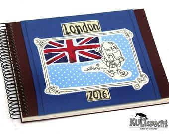 Souvenir UK, British Sticker-album, travel photo-album London, Union Jack, personalized gift Women, retro album-cover, great britain,