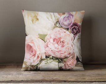 2 Pink Roses Cushion Covers, Pink Roses Throw Pillow, Floral Pillow Cases,  Roses Cushion Covers, Floral Throw Pillow, Roses Pillows