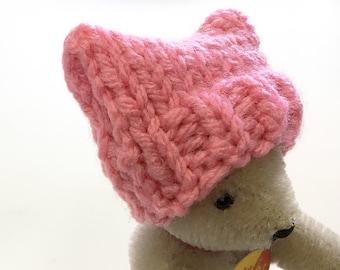 Miniature Women's March Hat- 1 Cozy- Mini Cap- Pussycat- Doll, Small Pet- Shades of Pink