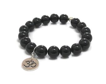 Mens Inspirational Jewelry, Women Chakra Bracelet Onyx Mala Beads, Gifts for Teacher, Om Charm Buddhist Prayer Meditation Beads, Worry Beads