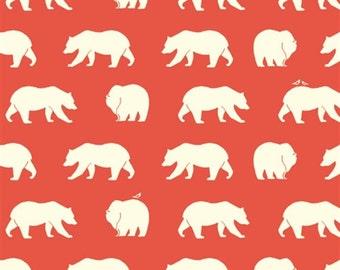 FULL 10 YARD BOLT Bear Hike Coral 100% Organic Cotton Fabric - Birch Fabrics -  Bear Camp Collection Knits