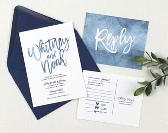 blue wedding invitation, blue watercolor wedding invitation, navy blue wedding invitation, blue wedding stationery, navy printed invitations