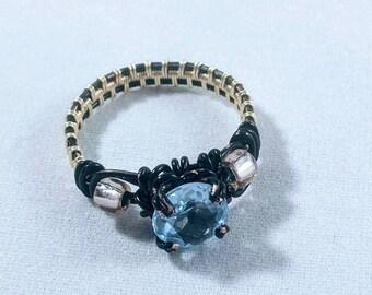 Wire wrapped Blue Topaz gemstone Ring