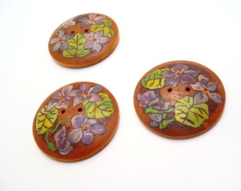 Hand Painted Buttons Vintage Wooden Set of Three (3) Purple Flowers and Green Leaves Round Domed Signed Herbein Each 1-9/16 Inches Diameter