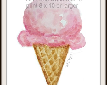 Pink Ice Cream Cone watercolor painting Nursery kitchen wall art restaurant art original painting free shipping