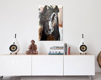 horse painting print, equestrian gift, western decor, horse wall art, country life, modern western art, horse portrait