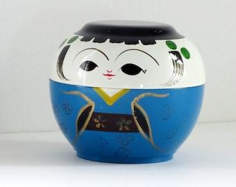 Vintage Kokeshi Box, Otagari OMC Lacquer Kokeshi, Stacking Kokeshi Box, Kitsch Mid Century Storage Box, SwirlingOrange11