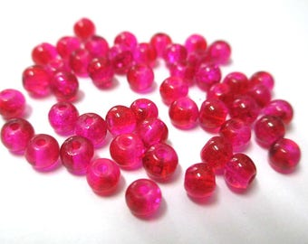 20 bicolor beads red and pink Crackle Glass 4mm