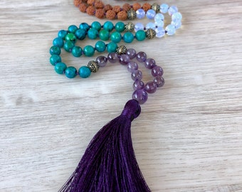 Awaken Mala ~ 108 Bead Opalite, Amethyst & Chrysocolla Hand Knotted Mala Necklace, Meditation Beads, Mala Beads, Prayer Beads, Yoga Necklace