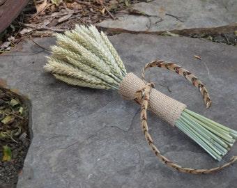 Tribal Bouquet, Dried Beardless Wheat Bouquet, Wheat Bunch Bouquet, Boho Wedding, Birthday Bouquet, Tribal Ribbon, Burlap